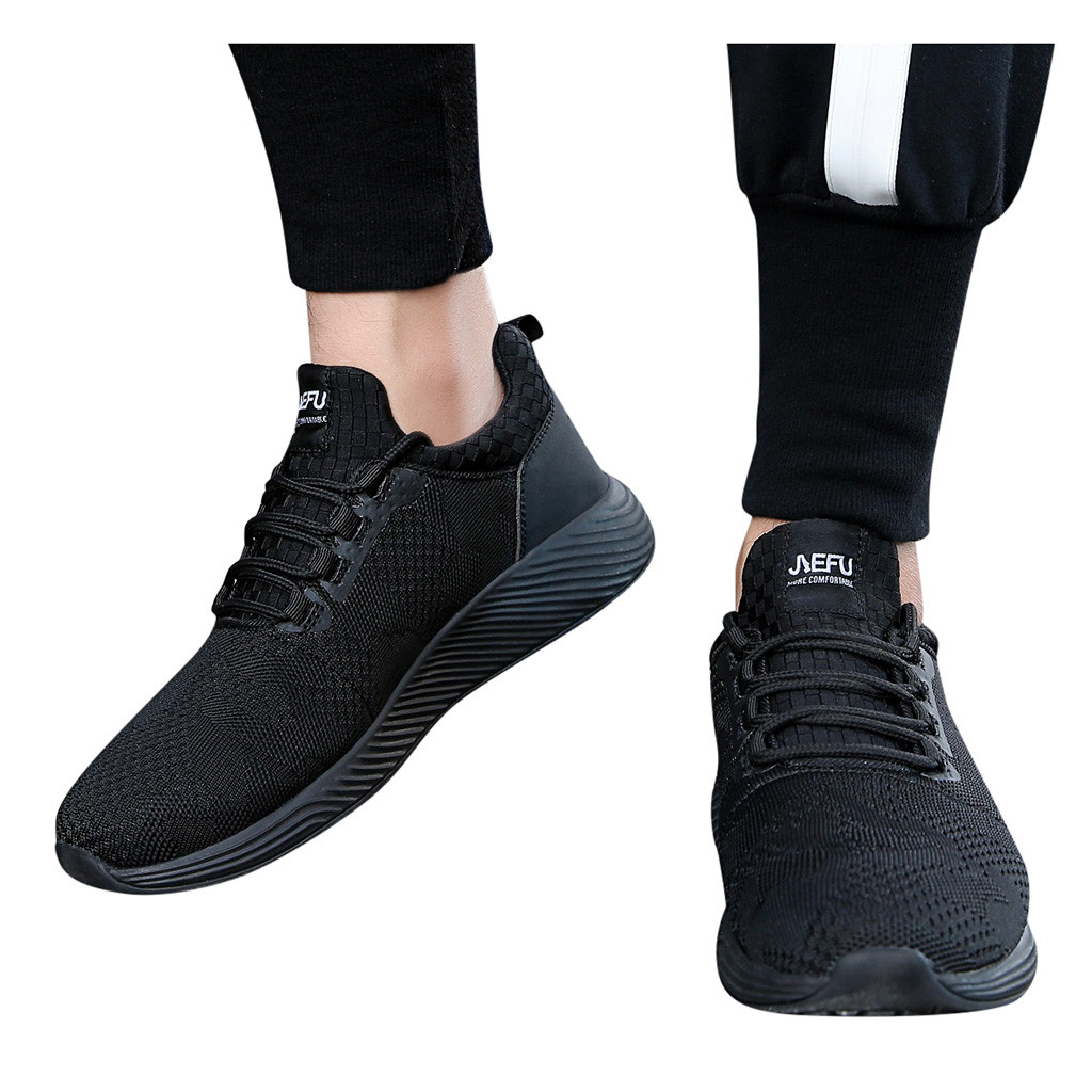 Sneakers Shoes Pumps Lightweight Lace-Up Sports Solid-Color Men's Casual Mesh Black Cap-Toe title=