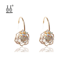 DREJEW Openwork Rose Zircon Flower Statement Earrings 925 Gold Silver Crystal Needle Stud Sets for Women Jewelry HE7011