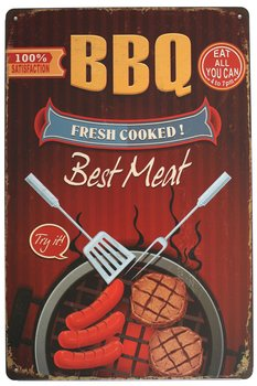"BBQ Fresh Cooked Best Meat Metal Tin Sign, Vintage Barbeque Plaque Poster Restaurant Home Wall Decor, 12"" X 8"" Inches"