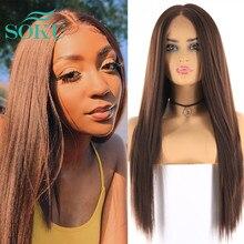 Soku焼きストレート合成レースフロントかつら黒人女性中部ナチュラルヘアライン高温繊維レースの毛のかつら