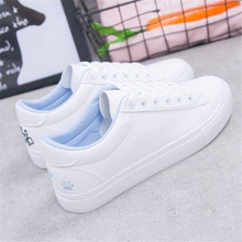 New Spring Tenis Feminino Lace-up White Shoes Woman Pu Leather Solid Color Female Casual Women Sneakers Cat Zapatos De Mujer 2018 new brand shoes woman women flats couples sneakers casual zapatos mujer tenis feminino chaussures femme lace up