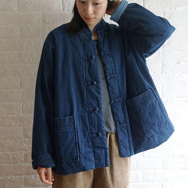 Johnature invierno ocio moda Stand Collar placa hebilla bolsillos grueso Denim chaqueta 2020 nuevo All match cómodo mujeres abrigos