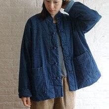 Johnature חורף פנאי אופנה צווארון עומד צלחת אבזם כיסים עבה ג ינס מעיל 2020 חדש כל התאמה נוח נשים מעילים