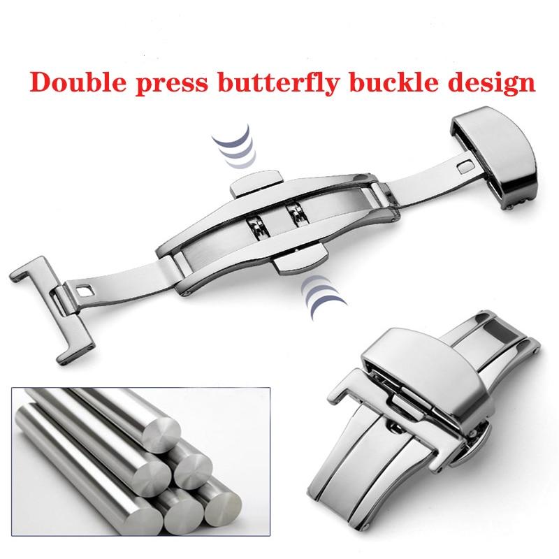 Пряжка с бабочкой, автоматический двойной клик, застежка из нержавеющей стали, ремешок для часов, ремешок, 16 мм, 18 мм, 20 мм, 22 мм, застежка для часов