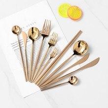 Juego de cubiertos Rosa dorados para comedor, cuchara, tenedor, palillos, mango redondo de acero inoxidable 304, vajilla para carne, juego de vajilla con espejo