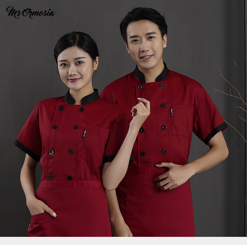Quality Chef Jacket Short Sleeves Summer Chef Uniform Shirt Cook Costumes Restaurant Food Service Hotel Work Clothes Chef Coat