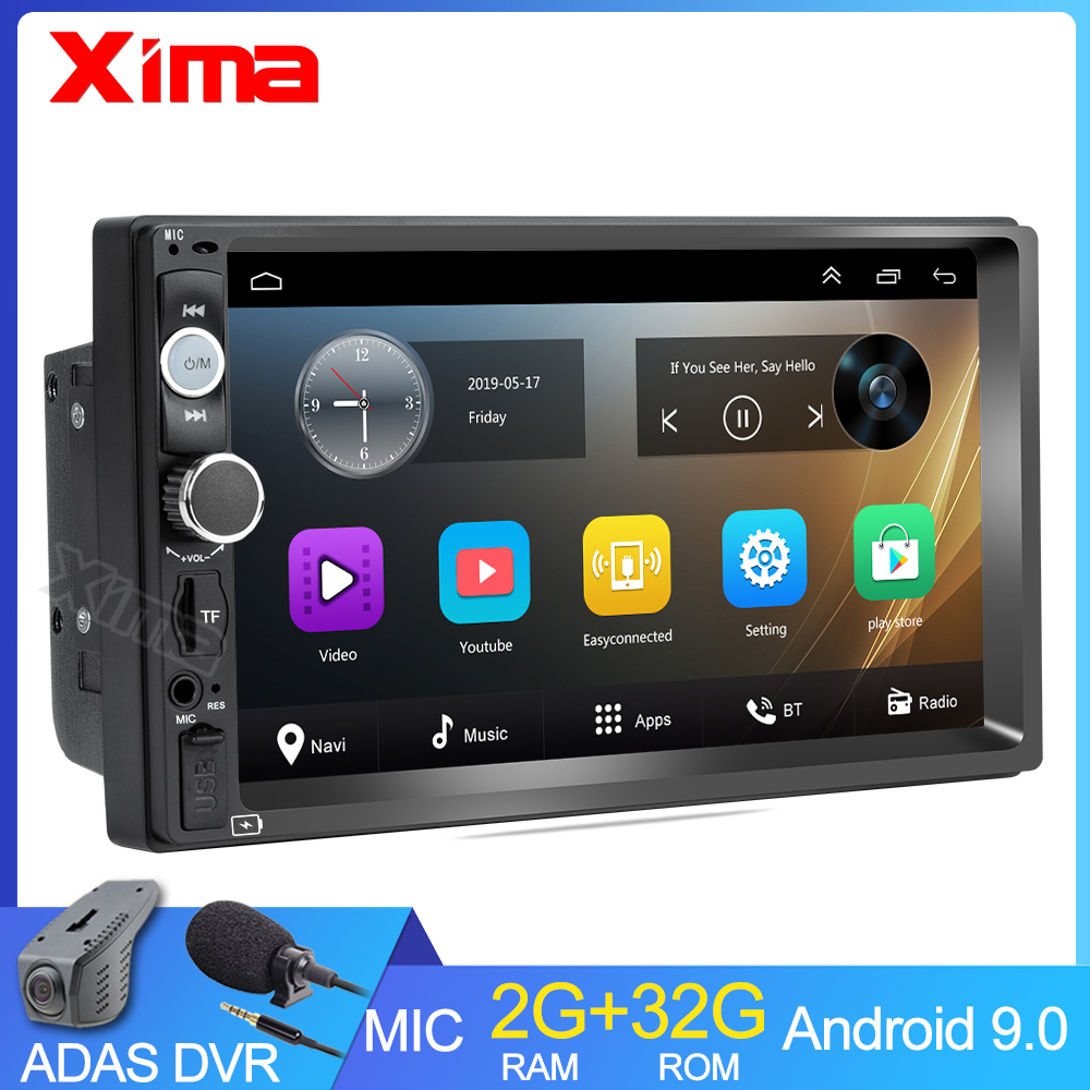 Rádio reprodutor multimídia para carro, rádio com android 9.0 2g + rom32 com reprodutor multimídia, áudio universal para nissan hyundai kia toyota rav4 vw ford