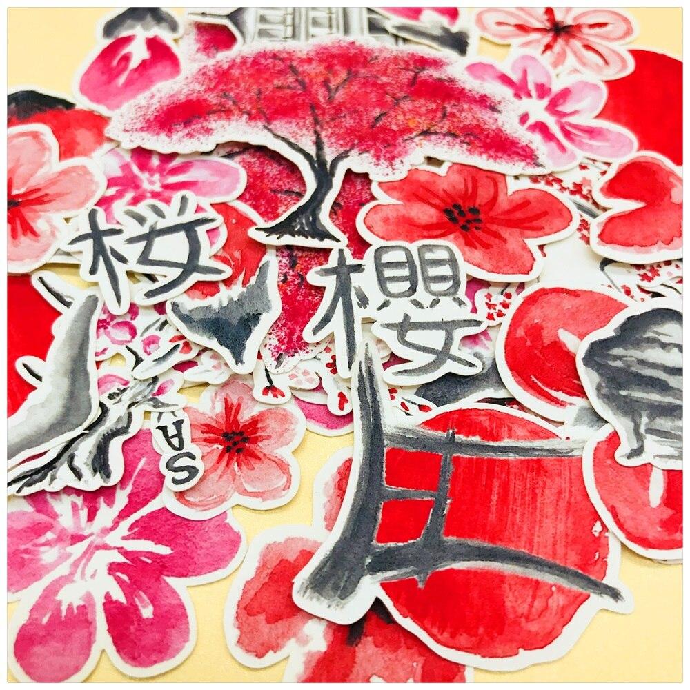 40Pcs/Pack Travel Japanese Sakura Cherry Flower Sticker DIY Craft Scrapbooking Album Journal Happy Planner Decorative Stickers