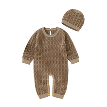 Baby Rompers Long Sleeve Newborn Infant Bebes Unisex Sweater Jumpsuits Hats 2pcs Outfit Clothes Soft Cotton Knited Boy Girl Suit
