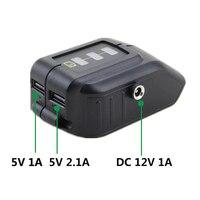 Adaptador de carregamento do dispositivo do usb do conversor da bateria do li-íon de dewalt 14/18/20 v