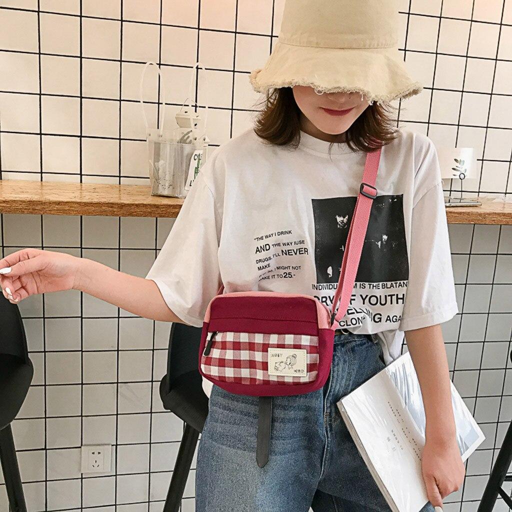 Women Fashion Canvas Plaid Coin Purse Shoulder Tote Handbag Casual Bag