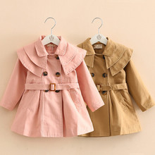 Outwear Trench-Coats Long-Jacket Baby-Girls Fashion Autumn Solid with Belt Layered-Collar