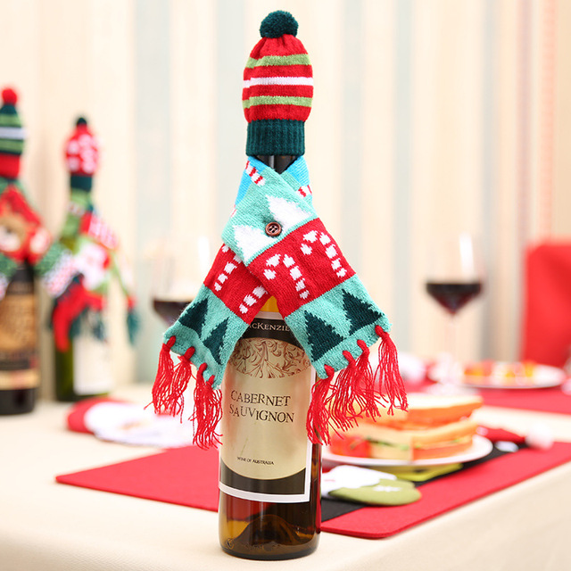 Christmas Wine Bottle Cover Scarf Hat Sets Xmas Santa Table Decoration Party N7
