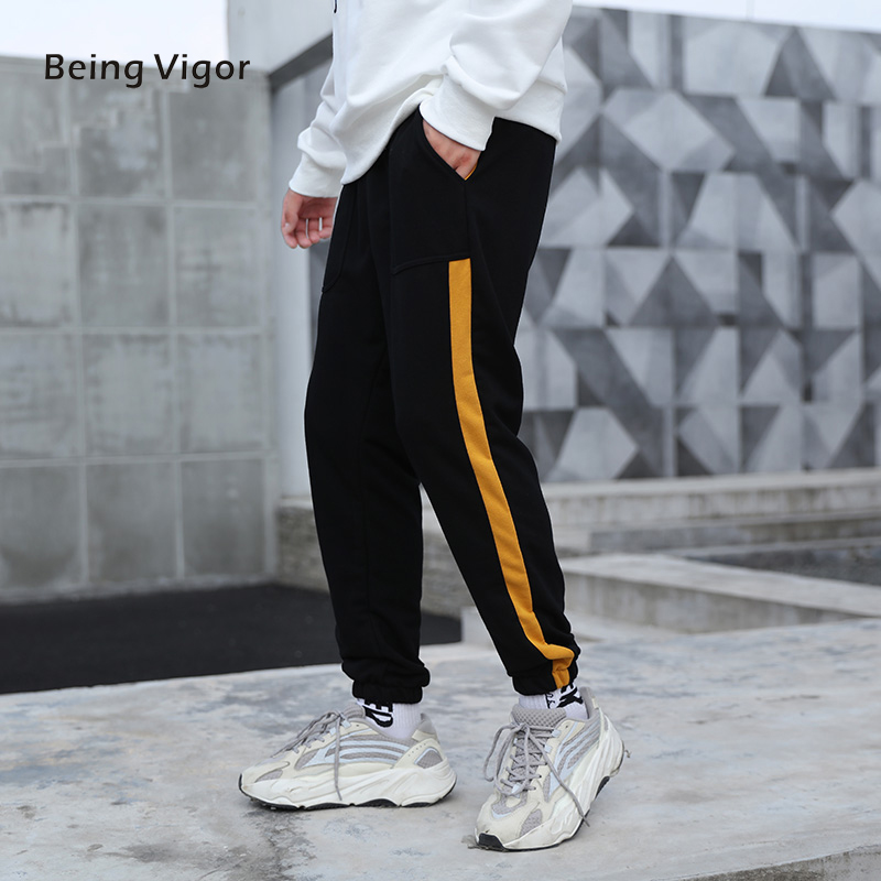 Men Sweat Joggers Casual Sport Pants With Gold Stripe Mens Slim Fit Pants For Men Sweatpants Trousers Jogger Pants 2019 M-4XL