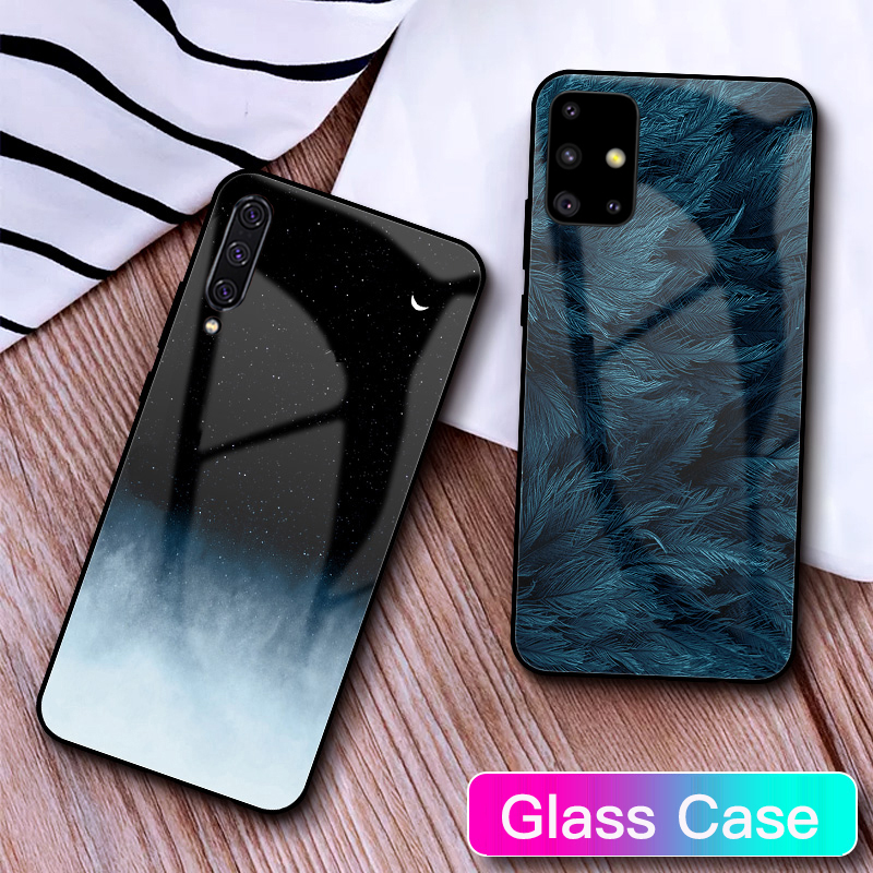 GFAITH Tempered Glass <font><b>Case</b></font> For <font><b>Samsung</b></font> <font><b>Galaxy</b></font> <font><b>A50</b></font> Feather Print Cover For <font><b>Samsung</b></font> <font><b>Galaxy</b></font> A30 A71 S20 A40 S9 A70 A51 <font><b>Case</b></font> S8 S10 image