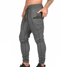 Men Sweat Track Pants Trendy Skinny Sport Joggers Sweatpants Drawstring Pencil Zipper Pockets Gym Trousers Casual Harem Pants