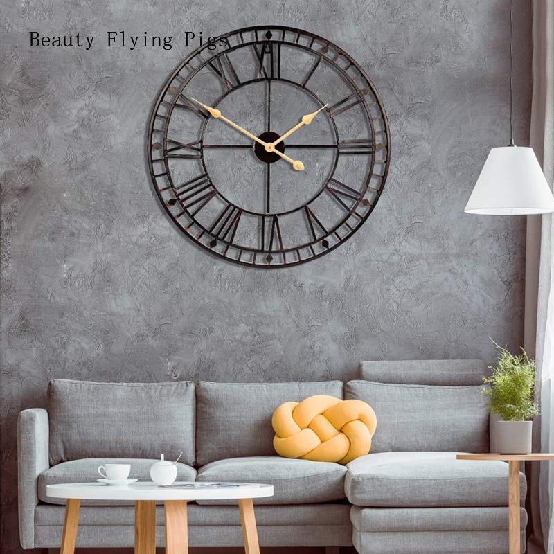 1Pcs Wall Decoration Wrought Iron Alarm Clock Retro Wall Clock 3D Round Roman Hollow Iron Bar Quiet Decorative Wall Clock