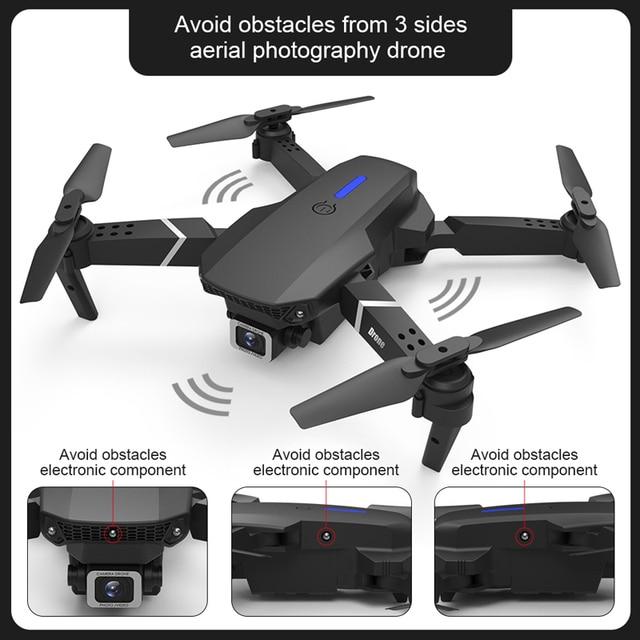 E525 pro rc quadcopter profissional obstáculo evitar zangão câmera dupla 1080p 4k altura fixa mini dron helicóptero brinquedo 4