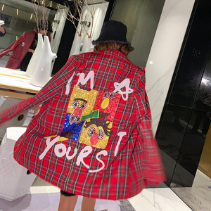 Image 2 - 2020 Autumn cartoon sequins jackets fashion plaid women bf long Blazers