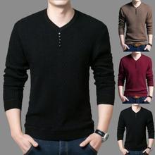 Мужчины однотонный цвет O шея длинный рукав джемпер вязаный пуловер тонкий основа свитер