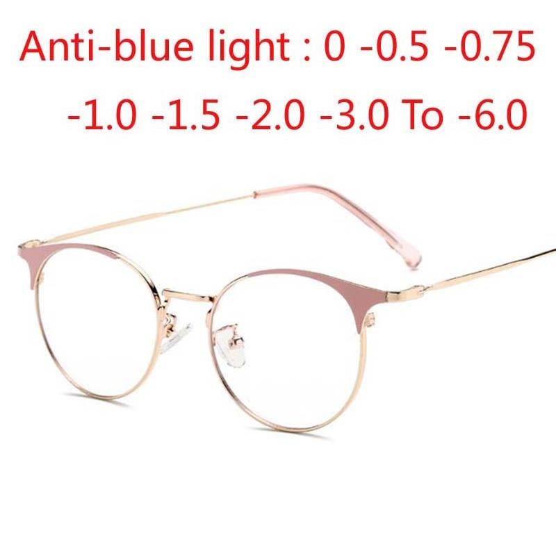 Alloy Optical Glasses Ultralight Retro Round Myopia Prescription Eyeglasses Metal Full Screwless Eyewear 0 -1.0 -2.0 To -6.0