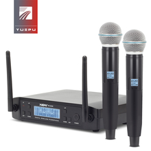YUEPU RU-D220 UHF Handheld Karaoke Microphone Wireless Professional System 2 Channel Frequency Adjustable Cordless For Church high end uhf 8x50 channel goose neck desk wireless conference microphones system for meeting room