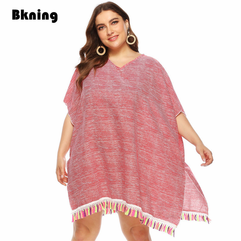 Plus Size Beach Cover Up Tunics Sleeveless Tassels Beach Dress Pink Fringe Beachwear Swimsuit Coverups Bathing Suits For Women