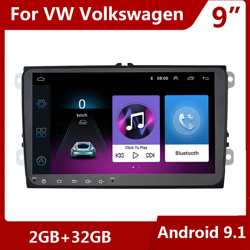 9 Android 9.1 Car Radio GPS Multimedia Player 2 DIN for VW Volkswagen GOLF 5 6 Polo Passat b5 Jetta Tiguan Touran Skoda canbus image