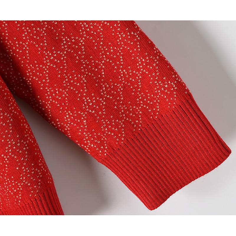 Europa Star estilo tejido suéter mujer Jacquard tejido perro hoja bordado punto cuello redondo Jersey manga larga Otoño Invierno - 6