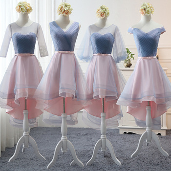 2020 New Blue Gray Bridesmaid Dresses Pleated Short Country Beach Wedding Guest Party Gowns Long Tulle Prom Dress