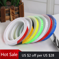 1cmx8m Bike Reflective Stickers Cycling Fluorescent Reflective Tape MTB Bicycle Adhesive Tape Safety Decor Sticker Accessories 1