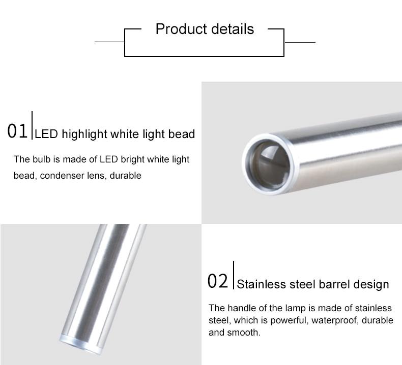 Супер яркий флэш-светильник светодиодный из нержавеющей стали Ручка светильник медицинский портативный карманный фонарь 3 Вт мини ручка лампа