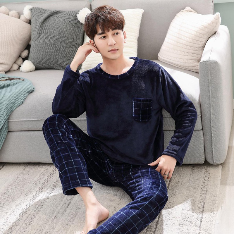 Thick Warm Blue Flannel Pajama Sets For Men 2019 Winter Long Sleeve Coral Velvet Sleepwear Suit Loungewear Homewear Home Clothes