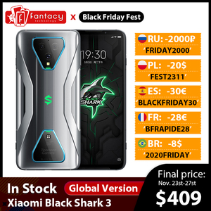 Global Version Xiaomi Black Shark 3 5G Snapdragon 865 8GB 128GB Game Phone Octa Core 64MP Triple AI Cameras 65W 4720mAh