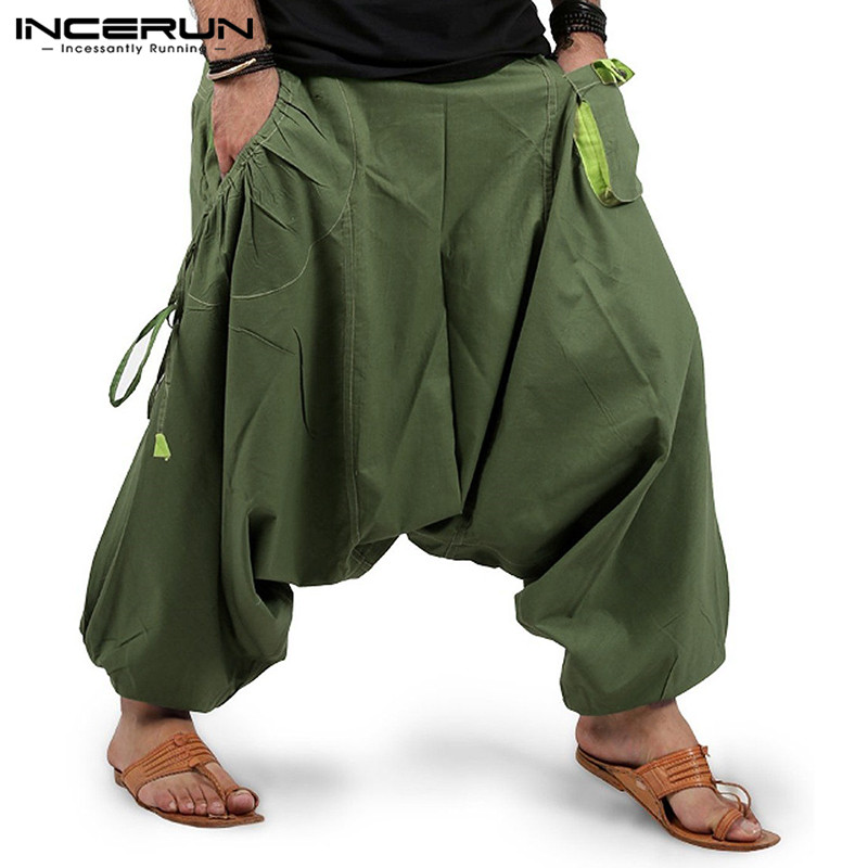 Mode Männer Pluderhosen Jogger Streetwear Elastische Taille Lose Drop Gabelung Hosen Männer 2020 Taschen Solide Hosen INCERUN S-5XL 7
