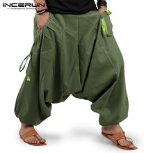 Pantalones harén para hombre, ropa de calle para correr, cintura elástica, holgados, entrepierna con caída, 2021 bolsillos, S-5XL INCERUN 7