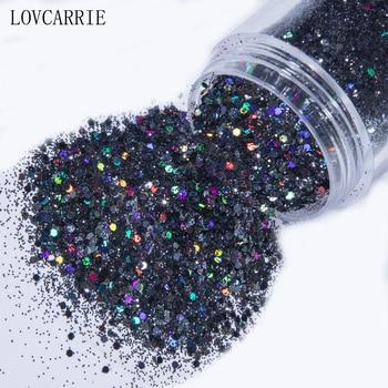 1 Jar Mix Black Glitter Nail Art Powder Sequins Holographic Color Nails Flakes Paillette Shine Laser Manicure Nail Decorations 1