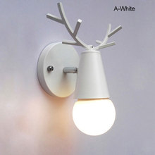 Creative Elk Wall Lamp Bedroom Hallway Bedside Light Log Solid Wood Antler Christmas Decorative Luminarias De Interior F