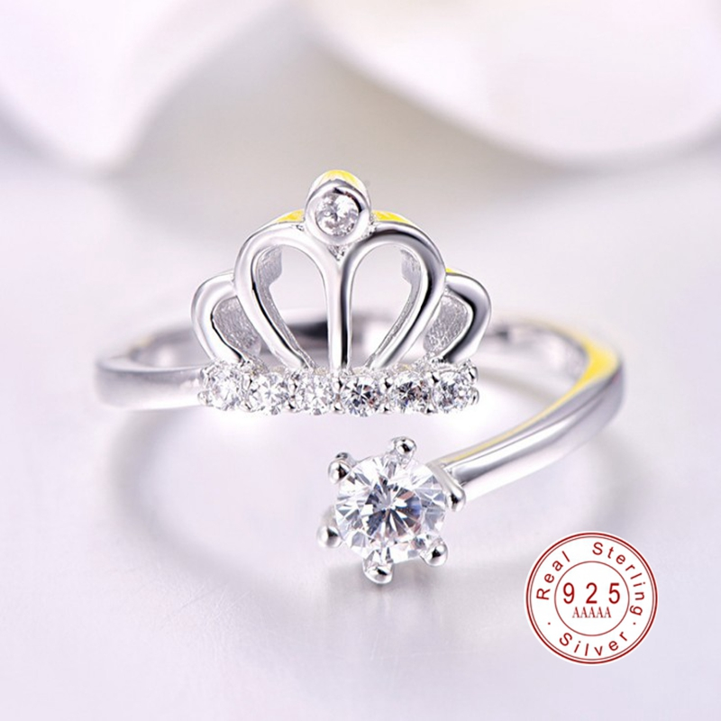 2019 Fashion 925 Sterling Silver Hollow Crown Personality Princess Ring For Women AAA CZ Zircon Party Anniversary Rings Jewelry
