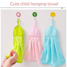 3 Color Hand Towel Kitchen Nursery New Coral Fleece Bathroom Towels Hung Clean Kitchen Towel Absorbent Dishcloth Hanging(China)