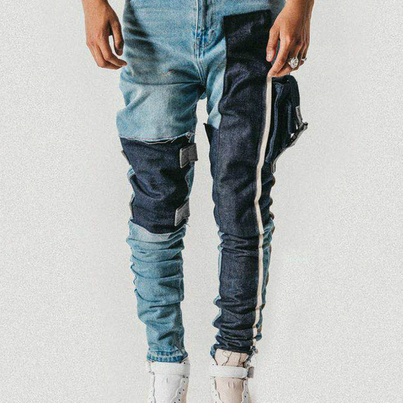 Strapped Pocket Distressed Jeans Slim Tapered Biker Jeans Hip Hop Streetwear Non-stretch Cotton