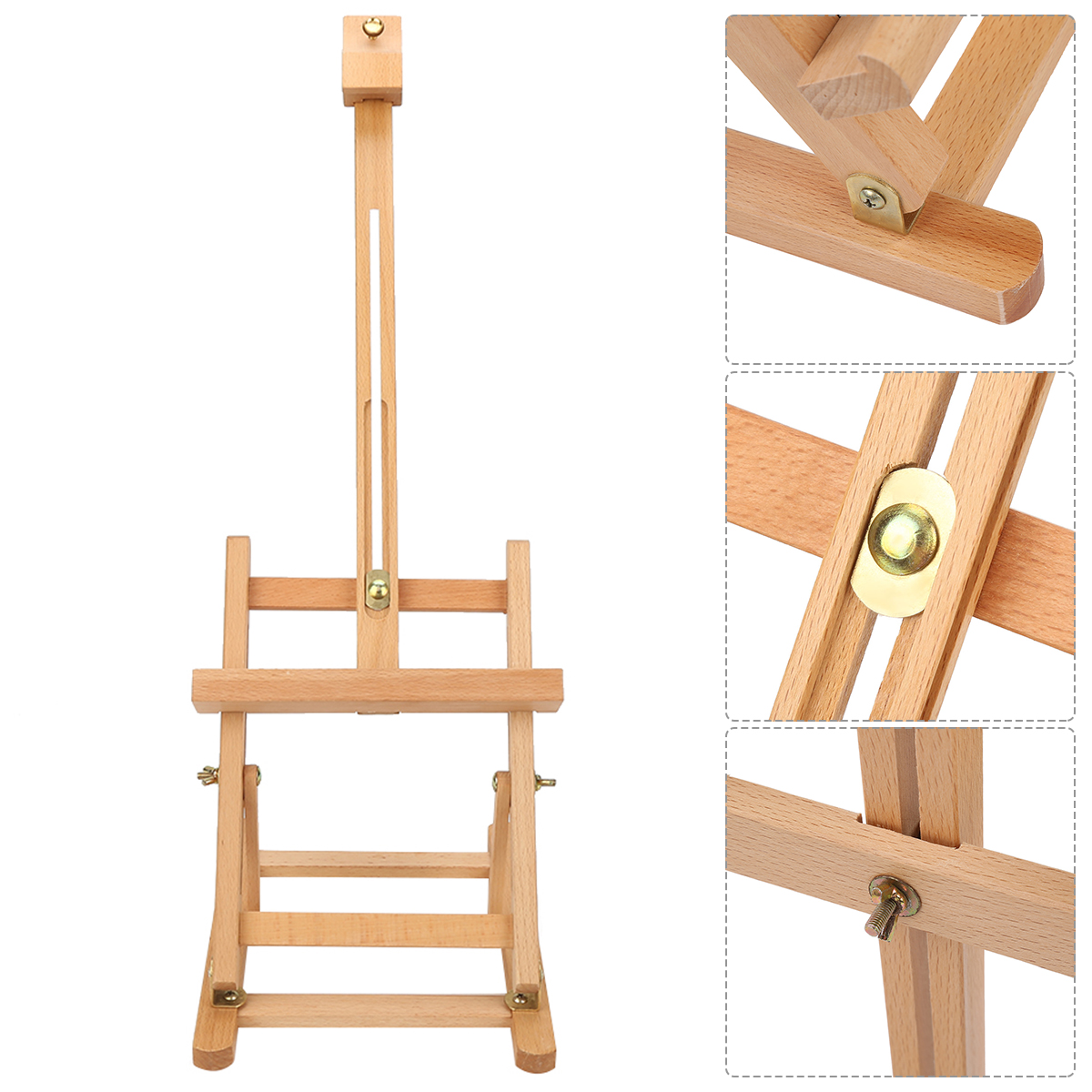 Adjustable Height Tabletop Wood Studio Art Easel Outdoor Folding H-Frame Easels Multifunctional Art Easel Artist Painting Tools