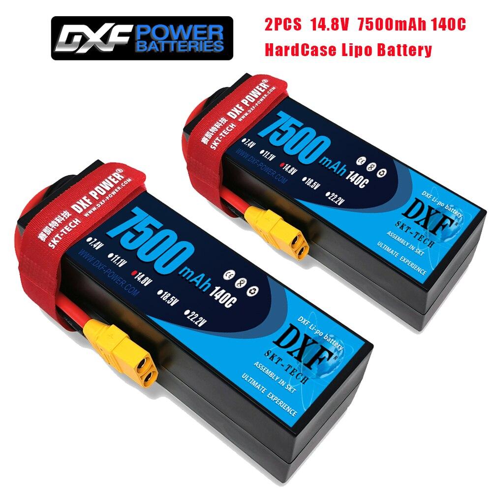 DXF 2PCS 4S 3S 11.1V 14.8V 15.2V 6750mAh 6400mAh 7500mAh 8000mAh 100C 200C 140C 280C 130C 260C para RC 1/8 Buggy Truggy Truck Car