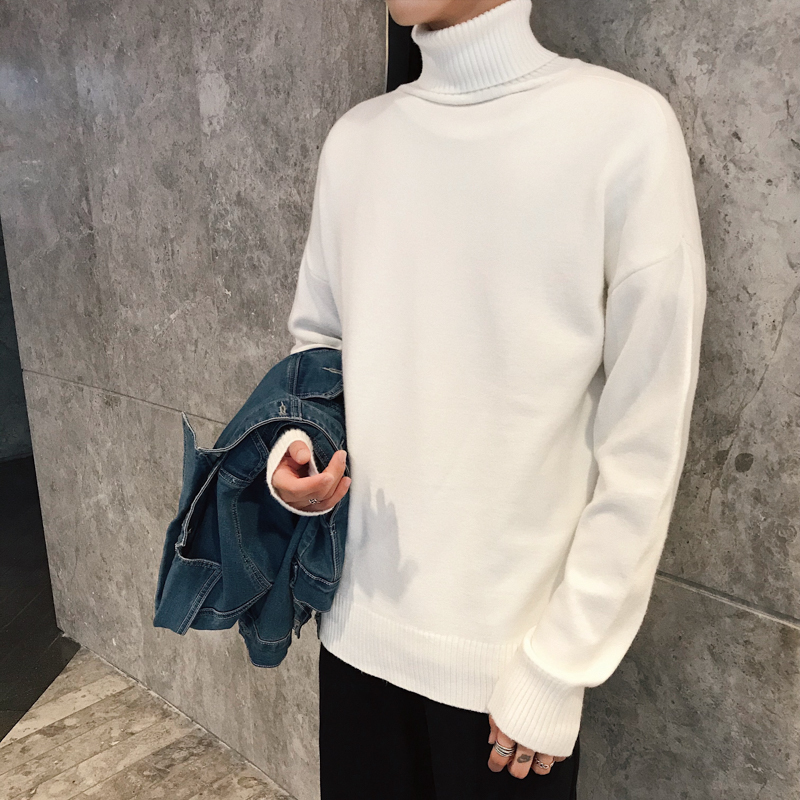 Winter New High Collar Sweater Men Warm Fashion Solid Color Casual Knit Pullover Man Streetwear Wild Loose Sweater Male Clothes