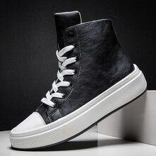Erkek botları gündelik Erkek ayakkabısı PU deri su geçirmez Punk orta buzağı Erkek motosiklet botları Lace Up Erkek ayakkabıları kaya Erkek Ayakkabi