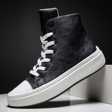 Men Boots Mens Casual Shoes PU Leather Waterproof Punk Mid Calf Male Motorcycle Boots Lace Up Mens Shoes Rock Erkek Ayakkabi