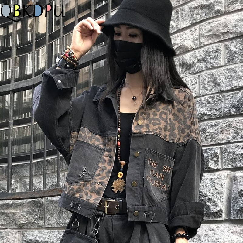 Vintage Black Leopard Women Denim Jacket Spring Harajuku Punk Jean Jackets Coat Boyfriend Loose Pocket Fashion Streetwear