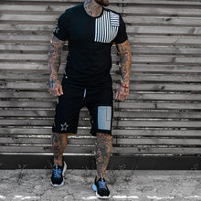 Men Sets Street Summer Short Sleeve Sport Suits Men's Tracksuit Sweat Suits Male Sportswear 2 Piece Set Men Shorts T Shirt