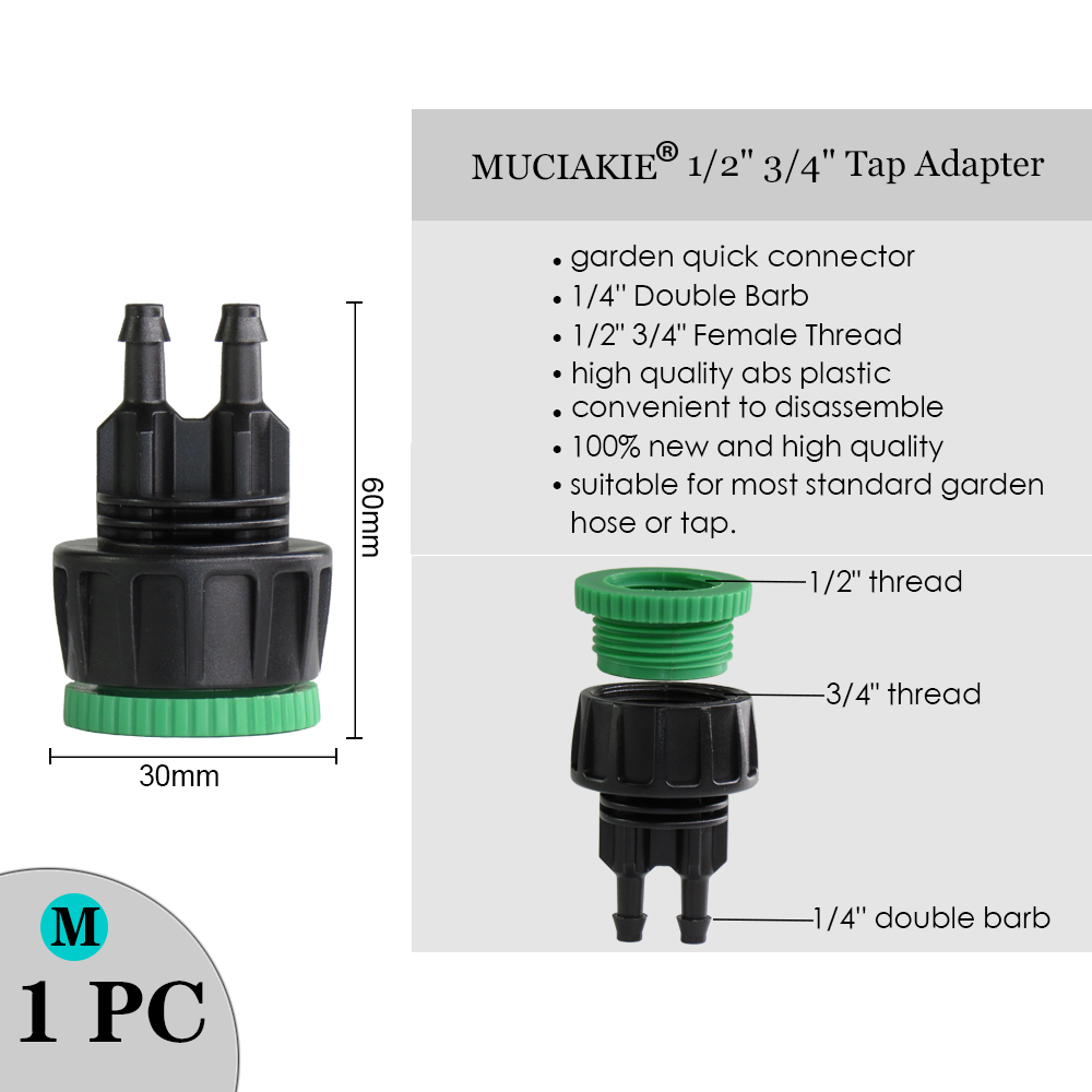 """H70892fc6bc644ec18e637b2ac92fdf86k MUCIAKIE Variety Style Garden Tap 1/2"""" 3/4"""" Male Female Thread Nipple Joint 1/4"""" Hose Quick Connector Irrigation Water Splitters"""