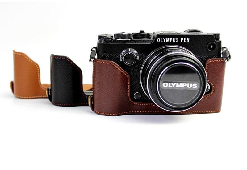 Funda de cuero de la mitad de montaje inferior para cámaras DSLR Olimpo PEN-F-Negro